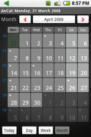 Month view screen
